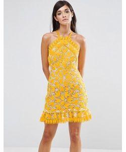 aijek | Кружевное Платье Мини С Завязкой На Шее И Перекрестными Бретелями На