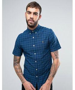 Farah | Синяя Узкая Рубашка В Клетку С Короткими Рукавами Cosford