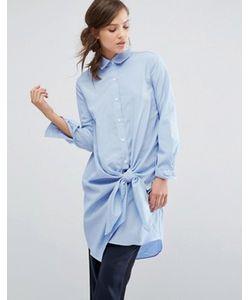 Parallel Lines   Платье-Рубашка В Тонкую Полоску С Завязкой Спереди