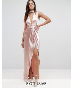 NaaNaa | Платье Макси Из Фактурной Атласной Ткани С Запахом Спереди