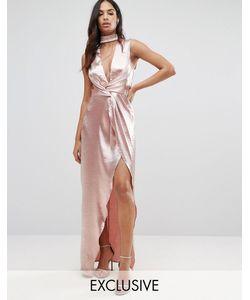 NaaNaa   Платье Макси Из Фактурной Атласной Ткани С Запахом Спереди