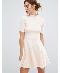 Club L | Короткое Приталенное Платье В Офисном Стиле С Высокой Горловиной