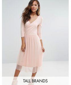 Vero Moda Tall   Платье С Запахом И Юбкой Из Тюля