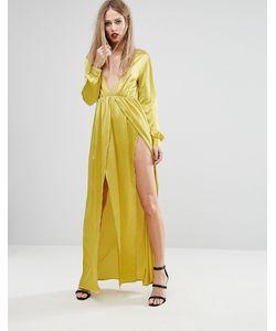NaaNaa | Атласное Платье Макси С Глубоким Вырезом И Разрезом