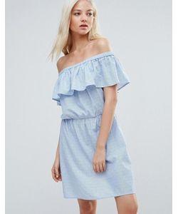 Vero Moda   Платье С Открытыми Плечами И Оборкой