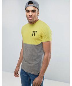 11 Degrees   Желтая Футболка С Логотипом И Вставкой