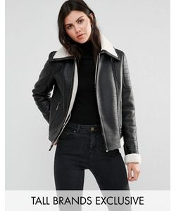 Glamorous Tall   Куртка Из Искусственной Цигейки С Кожаной Отделкой