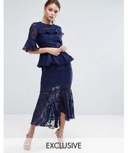 Dark Pink | Многоярусное Платье Миди С Выжженным Узором И Кружевными Вставками