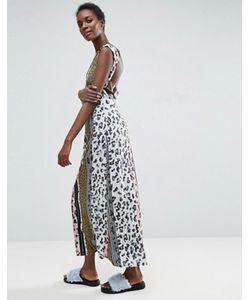ASOS Made In Kenya   Леопардовое Платье Макси С Вырезом На Спине