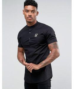 SikSilk | Черная Обтягивающая Рубашка