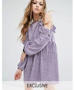 Milk It | Платье В Клеточку С Открытыми Плечами Vintage
