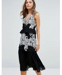Foxiedox   Ярусное Платье Миди С Вышивкой