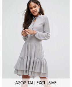 Glamorous Tall   Свободное Платье На Пуговицах С Отделкой Кисточками