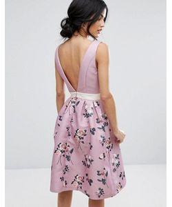 Chi Chi London | Платье Миди 2 В 1 С Глубоким Вырезом Сзади Chi Chi