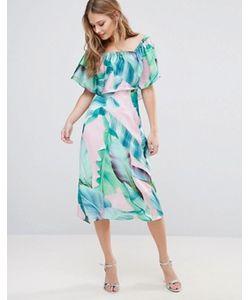 Every Cloud   Платье Миди С Пальмовым Принтом