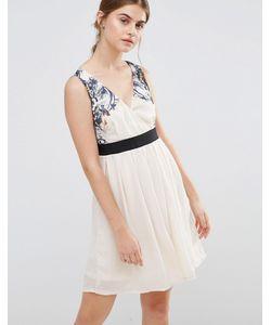 Jasmine | Короткое Приталенное Платье С Цветочным Принтом На Лифе