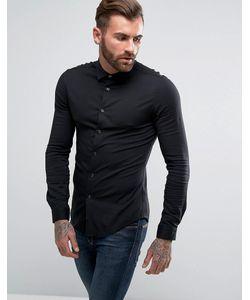Asos | Черная Рубашка Скинни Из Вискозы