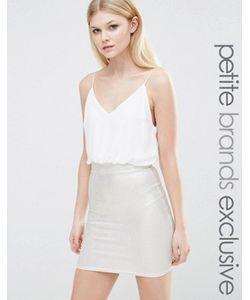 TFNC Petite | Платье 2-В-1 На Бретельках С Юбкой Металлик