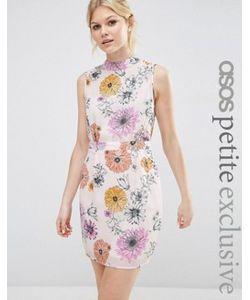 ASOS PETITE   Платье Мини С Высокой Горловиной И Цветочным Принтом