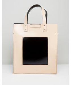 Leather Satchel Company   Сумка-Тоут Телесного Цвета С Черным Накладным Карманом