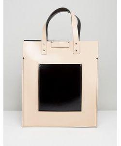 Leather Satchel Company | Сумка-Тоут Телесного Цвета С Черным Накладным Карманом