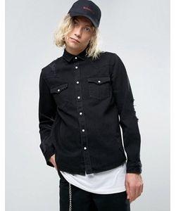Asos | Черная Джинсовая Рубашка В Стиле Вестерн Плотностью 135 Унции