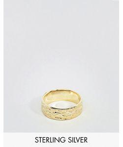 Asos | Позолоченное Серебряное Кольцо С Чеканной Отделкой