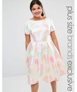 Chi Chi Plus | Приталенное Платье С Принтом Роз Chi Chi London Plus