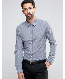 New Look | Темно-Синяя Строгая Рубашка Классического Кроя В Клеточку