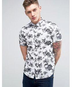 Brave Soul   Рубашка С Короткими Рукавами И Цветочным Принтом С Черепами