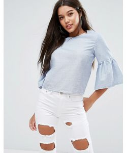 MISSGUIDED | Stripe Frill Sleeve Top
