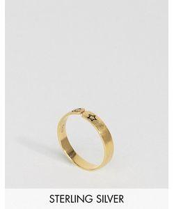 Asos | Незамкнутое Кольцо Из Позолоченного Серебра С Луной И Звездой