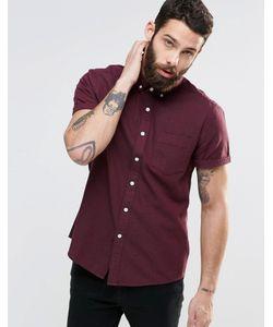 Asos   Саржевая Рубашка В Крапинку С Длинными Рукавами Burgundy