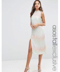 ASOS TALL | Прямое Платье Миди С Декоративной Отделкой И Высокой Горловиной
