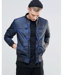 N1SQ   Куртка-Пилот С Камуфляжным Принтом Темно-Синий