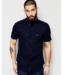 Farah | Рубашка Слим С Вафельной Текстурой И Короткими Рукавами Темно-Синий