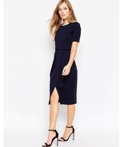 Asos | Фактурное Двухслойное Платье Темно-Синий