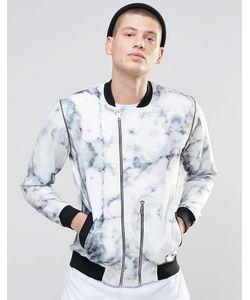 N1SQ | Спортивная Куртка С Мраморным Принтом Белый