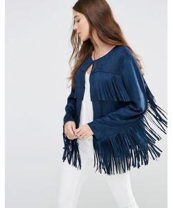 Jayley | Куртка С Бахромой Из Искусственной Замши Темно-Синий