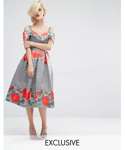 Horrockses | Платье Миди С Открытыми Плечами И Принтом Принт В