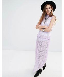 Rokoko | Кружевное Платье Макси Без Рукавов С Высокой Горловиной Лаванда