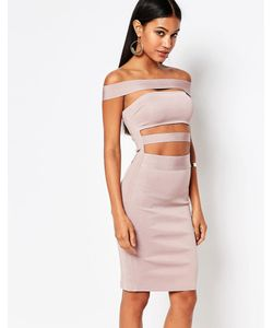 WOW Couture | Бандажное Платье С Открытыми Плечами Dusky Wineberry