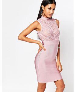 WOW Couture | Бандажное Облегающее Платье С Кружевным Лифом Blush