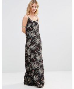 Style London | Платье Макси С Лесным Принтом Черный