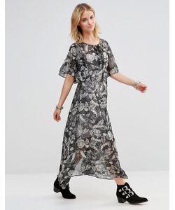 Style London | Платье Макси С Принтом Пейсли И Шнуровкой На Лифе