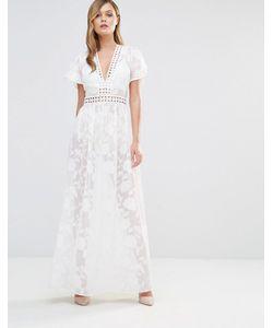 Dark Pink | Кружевное Платье Макси Со Вставкой Кремовый