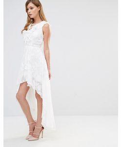 Dark Pink | Платье С Оборками И Шнуровкой Белый