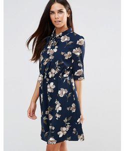 Style London | Платье С Бантомзавязкой И Цветочным Принтом Темно-Синий