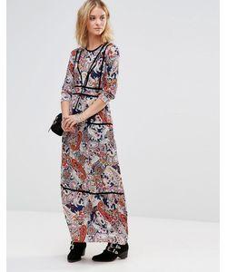 Style London | Платье Макси С Принтом И Контрастной Отделкой Темно-Синий