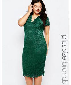 Goddiva plus | Кружевное Платье С V-Образным Вырезом